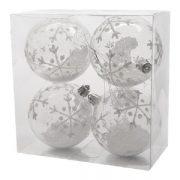 Kerstballen set sneeuw 8cm