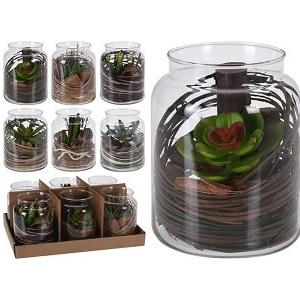 Plant In Glazen Vaas.Kunststof Plant In Glazen Vaas